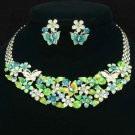 Swarovski Crystals Enamel Green Flower Butterfly Necklace Earring Set 896401