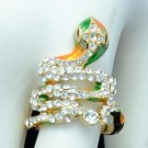 Gold Tone Clear Swarovski Crystals Cute Animal Enamel Cobra Snake Cocktail Ring