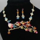 Stunning Swarovski Crystals High Quality Peafowl Peacock Necklace Earring Set