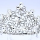 Silver Tone Showy Bridal Tiara Crown Wedding W/ Clear Swarovski Crystals 0820