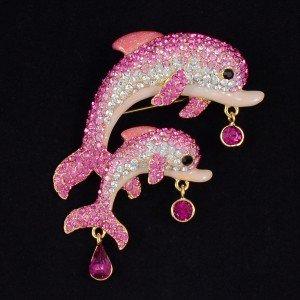 "High-Quality Animal Pink Dolphin Baby Brooch Pin 3.0"" W/ Swarovski Crystals"