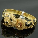 High Quality Panther Leopard Bracelet Bangle Cuff W/ Brown Swarovski Crystals