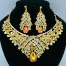 Teardrop Topaz Rhinestone Crystals Flower Necklace Earring Jewelry Sets 02644