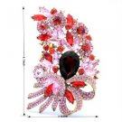 """Popular Flower Brooch Broach Pin 4.1"""" W/ Red Rhinestone Crystals"""
