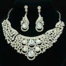 Clear Drop Flower Necklace Earring Set Wedding Jewelry Rhinestone Crystals