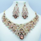 Teardrop Purple Rhinestone Crystals Flower Necklace Earring Jewelry Sets 02644