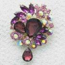 """Purple Flower Brooch Broach Pin 3.1"""" W/ Rhinestone Crystals 3857"""