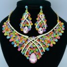 Teardrop Rhinestone Crystals Mix Flower Necklace Earring Jewelry Sets 02644