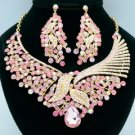 Gold Tone Pink Rhinestone Crystals Leaf Flower Necklace Earring Sets 02643