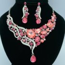 Stylish Rhinestone Crystal Pink Teardrop Flower Necklace Earring Set 04314
