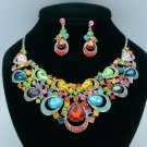Rhinestone Crystals Mix Teardrop Flower Necklace Earring Jewelry Sets 02569