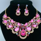 Rhinestone Crystals Fuchsia Teardrop Flower Necklace Earring Jewelry Sets 02569