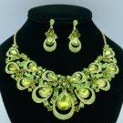 Rhinestone Crystals Olivine Teardrop Flower Necklace Earring Jewelry Sets 02569