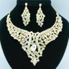 Vogue Animal Snake Necklace Earring Jewelry Set w Clear Swarovski Crystal 02621