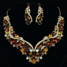 Flower Necklace Earring Set Brown Rhinestone Crystal Drop Oval Wave 02427