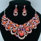 Rhinestone Crystals Red Teardrop Flower Necklace Earring Jewelry Sets 02569
