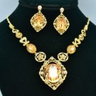 Popular Gold Floral Flower Necklace Earring Sets Swarovski Crystals 387701