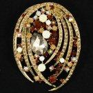 "Brown Flower Pendant Brooch Broach Pin 2.8"" W/ Rhinestone Crystals 4887"