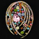 "Multicolor Flower Pendant Brooch Broach Pin 2.8"" W/ Rhinestone Crystals 4887"