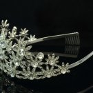 Swarovski Crystals Pageant Bridal Clear Flower Tiara Crown Wedding 0613
