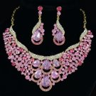 Drop Flower Necklace Earring Set W/ Light Rose Rhinestone Crystals Floral 02373