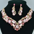 Gold Tone Drop Oval Flower Necklace Earring Set W/ Pink Rhinestone Crystal 02427