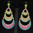 Multicolor Moon Dangle Pierced Earring W/ Mix Rhinestone Crystals