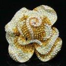 High Quality Rose Flower Cocktail Ring Adjustable w Topaz Swarovski Crystals