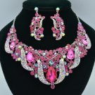 Silver Tone Flower Leaf Necklace Earring Set W/ Fuchsia Rhinestone Crystal 02623