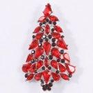 Red Christmas Tree Brooch Broach Pin W/ Swarovski Crystals