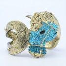 Rhinestone Crystals Vintage Style Blue Steed Horse Bracelet Bangle Cuff 1047