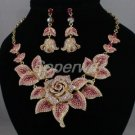Swarovski Crystals New Pink Rose Flower Necklace Earring Set SNA2807-1