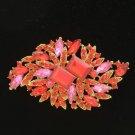 "Vintage Style Red Fashion Flower Brooch Pin 3.7"" w/ Rhinestone Crystals 4079"