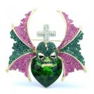 Stunning Mix Rhinestone Crystal Wing Cross Heart Skull Brooch Broach Pin 2.8""