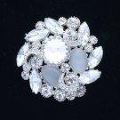 "Vogue Clear Round Flower  Brooch Pin Rhinestone Crystals 2.0"" Bridal 5869"