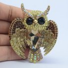 Brown Bird Owl Brooch Broach Pin W/ Rhinestone Crystals 5758