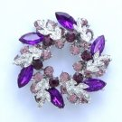 "Silver Tone Purple Round Leaf Flower Brooch Pin 2.1"" w/ Rhinestone Crystals"