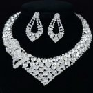 Clear Bow Bowknot Necklace Earring Set W/ Rhinestone Crystals For Wedding 0972