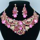 Gold Tone Leaf Flower Necklace Earring Sets W/ Fuchsia Rhinestone Crystals 02608