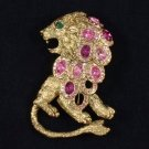 Vintage H-Quality Swarovski Crystals Wild Animal Pink Lion Brooch Pin SB4407