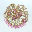 "Rhinestone Crystals Faux Pearl Pink Flower Brooch Broach Pin 2.1"" 8805837C9"