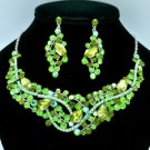 Green Princess Necklace Earring Set w/ Rhinestone Crystals for Party 02605