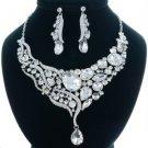 Wedding Teardrop Flower Necklace Earring Set Clear w/ Rhinestone Crystals 04314