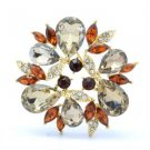 "Rhinestone Crystals Brown Floral Flower Brooch Broach Pin 2.2"" W/ Gold Tone"