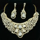Rhinestone Crystals Clear Drop Flower Necklace Earring Wedding Jewelry Sets