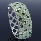 Rhinestone Crystals Silver Tone Green Fashion Bracelet Bangle Cuff