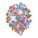 "Multicolor Rhinestone Crystals Teardrop Flower Brooch Broach Pin 3.9"" 3905"