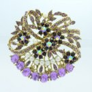 "Rhinestone Crystals Faux Pearl Purple Flower Brooch Broach Pin 2.1"" 8805837C9"