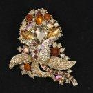"Rhinestone Crystals Cute Brown Flower Brooch Broach Pin 3.1"""