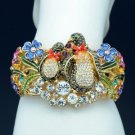 2 Penuins Enamel Flower Bracelet Bangle Multicolor Swarovski Crystal SKCA1770-2